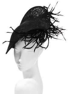 Hatmaker: Jonathan Howard - Ameera Jet black straw scallop a commotion of feathers complete the drama