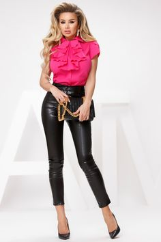 Camasa ciclam cu jabou din dantela este o camasa ce emana eleganta, ideala pentru evenimente sau tinute business. Leather Pants, Fashion, Leather Jogger Pants, Moda, Fashion Styles, Lederhosen, Leather Leggings, Fashion Illustrations