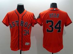 4d567e013 Astros  34 Nolan Ryan Orange Flexbase Authentic Collection Stitched MLB  Jersey Cycling Clothing