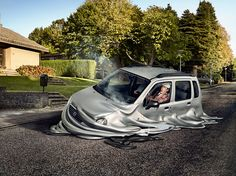 distorting the viewer's perception of reality, a digital design studio has brought together photography and CGI for the making of the 'melting cars' series. Photomontage, Photoshop, Meanwhile In Australia, Bakersfield California, Cars Series, Creative Photos, Photo Manipulation, Cgi, Studio