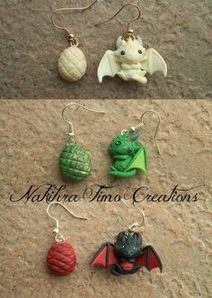 De Daenerys Dragons Pendientes arcilla del polímero por Nakihra