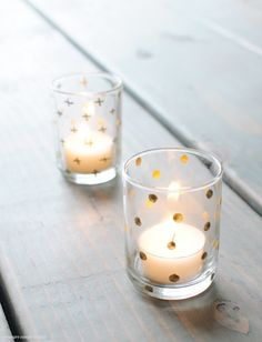 Dress up dollar store glasses with a paint and a delicate design that matches your color palette