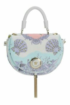 Versace offers her Spring/ Summer 2012 bags and shoes collection including handbags, handles, & sandals with sea shells, sea horse, or star fish on them. Versace Bag, Versace Handbags, Versace Fashion, Coach Handbags, Coach Purses, Versace Purses, Versace Shoes, Fashion Handbags, Coach Bags