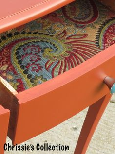 Oh I love this! Check out the drawer liner. It's the little details that can make a piece amazing! Chrissie's Collection - Custom Painted Furniture