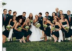 Wedding Party -Navy Dresses with Guys in Navy jackets
