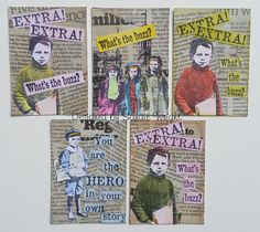 Atcs using Newsprint and Artistic Outpost Stamps.