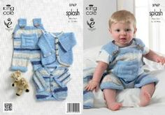 free knit patterns/ baby sets/amazon | King Cole Double Knitting Pattern Splash DK Baby Set Knitted Dungarees ...