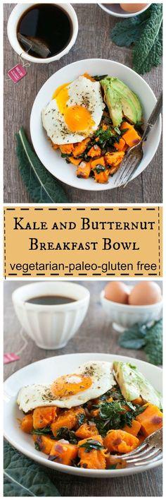 kale and butternut breakfast bowl - vegan, gluten free