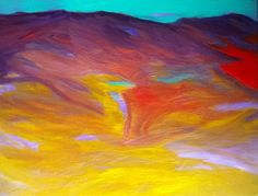 Abstract Mountain Painting, PAINTINGS, Art, Abstract Landscape Painting, Mountains, Original Art, Small Paintings, Purple, Yellow, Paintings by ArtBySarahHinnant on Etsy