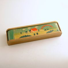 Vintage Wood Pencil Box Roll Top Trinket Box by efinegifts on Etsy