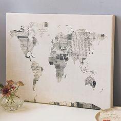 Vintage Style Postcard World Map Print