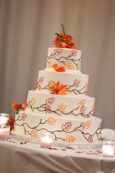 Boston Wedding Photography. fall wedding cake, fall colors