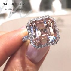 Say hello to our new Asscher Cut Morganite cocktail ring. Incredible endless faceting and bright white diamonds. Ready to view in the boutique now #matthewely #gemstones #morganite #diamonds