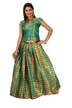 Buy Alankrita Multi Rama Color Allover Weaving Jari Umbrella Pavada with Brocket Blouse Rama Color(Unstiched) Online at Low Price in India | Alankrita - Junglee.com