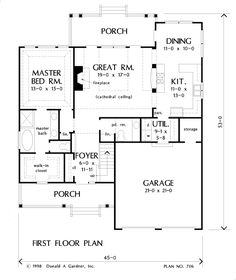 First Floor Plan of The Courtney - Home Plan 706