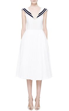 Update on the sailor dress I always wanted as a little girl. White Muslin Dress With Navy Collar by Natasha Zinko