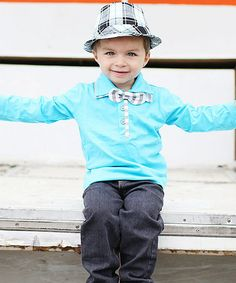 Look what I found on #zulily! Blue Bow Tie Polo - Infant, Toddler & Boys #zulilyfinds