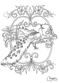 Peacock In The Heavenly Park Doodle Coloring Page For Grown Ups