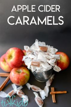 Outrageously Delicious Apple Cider Caramels Recipe for Fall. Homemade candy is the best! Fall Dessert Recipes, Apple Desserts, Fall Desserts, Candy Recipes, Fall Recipes, Apple Recipes Easy, Pumpkin Recipes, Sweet Recipes, Caramel Apple Cider Recipe