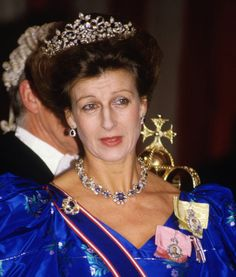 Princess Alexandra of Kent, wearing a sapphire necklace rumoured to have been bought in 1960s, then later sapphires were acquired for the central stones in her floral tiara to replace the pearls and turquoise as and when required to suit her gowns.