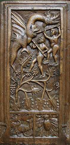 This is one of the Crowcombe, Somerset, bench-ends carved in 1534 -- [for the undoubted Parisian Horae source of the small square panel bottom left -- SEE BELOW]. Given that other motifs at Crowcombe derive from 'my' Parisian Horae metal-cuts, I believe this gastrocephalic dragon does too! [SEE ADJACENT] Book Of Hours, Somerset, Parisian, Bench, Dragon, Carving, English, Printed, Metal