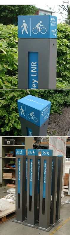 Identify routes and trails for cycle wayfidning, walking, interpretive and heritage applications. Wayfinding information markers by fwdesign. Directional Signage, Wayfinding Signs, Outdoor Signage, Signage Display, Signage Design, Environmental Graphic Design, Environmental Graphics, Exibition Design, Navigation Design