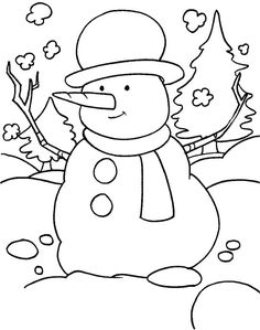 Winter Snowman Coloring Pages | funny snowman in the snowy field with scarf and a hat coloring page