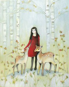 Orginal Oil Painting ''Girl and Deers'' Kids Wall Art
