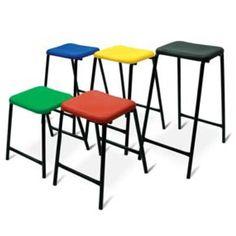 school furniture polypropylene stool with metal frame Classroom Stools, Classroom Design, High Stool, School Furniture, Steel Frame, Bar Stools, Metal, Table, Home Decor