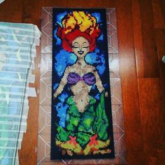 She's finally complete!  10,595 beads once more :) #perler #perlerbeads #hama…