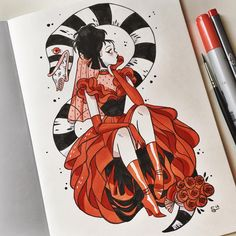 "23.5 mil curtidas, 180 comentários - @sibylline_m no Instagram: ""Starting #inktober with Lydia from Beetlejuice ❤️"""