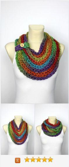 """Rainbow Knit Scarf - Chunky Infinity Scarf - Knit Chain Scarf - Bulky Knit Scarf - Knit infinity Scarf - Knit Loop Scarf - Finger Knit Scarf """"Rainbow Knit"""