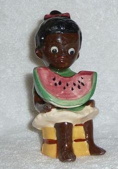 Vintage Black Americana Mammy Girl Watermelon Salt and Pepper Shakers Japan | eBay