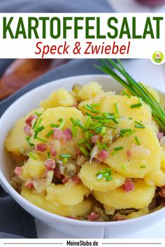 Potato salad with bacon, onions and cucumber - my room Best Salad Recipes, Apple Recipes, Potato Recipes, Healthy Dinner Recipes, Cooking Recipes, Yummy Recipes, Menu Desserts, Freezing Apples, Grilling Sides