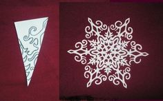 Paper snowflake cutting PATTERN with excellent tutorial on how to fold