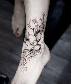 magnolia tattoo on foot