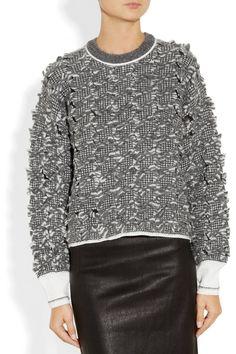 Alexander Wang|Bouclé alpaca-blend sweater|knit weaving with cut floats inspiration