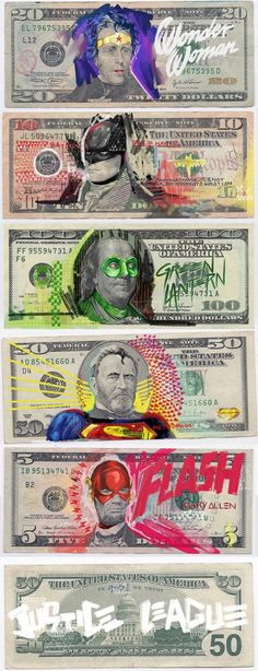 Justice League, Super Hero's on US Currency, Graphic Pop Art, Illustration. Illustration Arte, Illustrations, Justice League Characters, Graffiti, Nananana Batman, Hq Dc, Univers Dc, Kunst Online, Photocollage