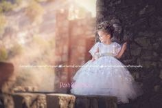White Sparkle Lace Communion Baptism Girls Dress