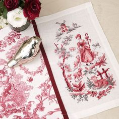 Aïda : Sets de table « Toile de Jouy » à broder au point de croix