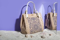"""GREEK SPIRIT Inspired by the sea`s deep blue and Greek island`s white, our new 'Greek Spirit' collection will virtually tour you to the Aegean and Ionian islands. The slogan of the line is """"My Greek Island Home"""" and """"Olive Branch with a Mediterranean Flair"""". Stunning handmade engraved details and prints on bags and wallets embellish our new collection.  www.doca.gr #greekspirit #greek #island #blue #fashion #patterns Island Blue, Fashion Patterns, Blue Fashion, Deep Blue, Slogan, Bucket Bag, Islands, Wallets, Greek"""