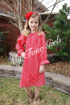 Christmas Dress Girls Holiday Dress Toddler by MyFourGirlsGifts