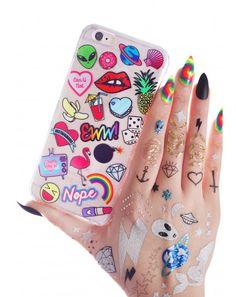 #DollsKill #lookbook #photoshoot #model #Skinnydip #doodle #iPhone 6/6+ #case #phone #stickers #clear #cute #eww #alien #pineapple #lips #shell #space #banana #nope #rainbow #lipstick #flamingo #emojis