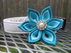 Dog Collar and Flower  MADE TO ORDER Blue by ArcadiusElegantlyDog, $36.00