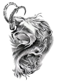 capricorn tattoos for men | Capricorn Symbol Tattoo Fantasy Goat Fish Drawing | Just Free Image ...