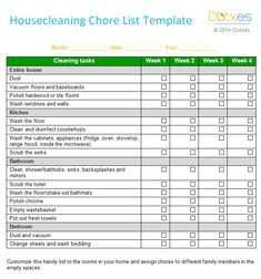 free templates for house cleaning checklist | House cleaning chore list (Weekly)