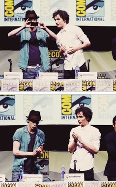 The Mortal Instruments: City of Bones at Comic Con Panel #SDCC (7/19/13) lol Jamie Campbell Bower (to play Jace Wayland) with Robert Sheehan (to play Simon Lewis)
