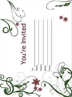 Flower and Vine Party Invitation Free Printable Party Invitations, Party Printables, Free Printables, Sign I, Rsvp, Vines, Flowers, Free Printable, Arbors