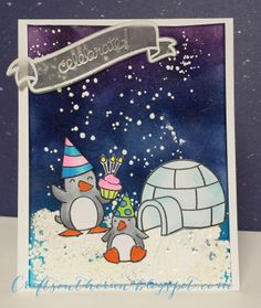 Lawn Fawn - Critters in the Snow, Bannerific + coordinating dies, Hats Off to You, Birthday Tags _ festive card by Ellen _  lawnscaping challenge, lawn fawn, birthday card