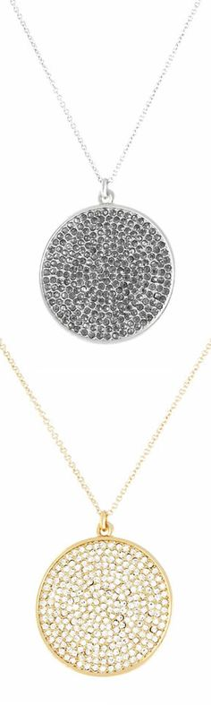 An instant classic for any occasion. This pendant necklace features a starry disc of shimmering pave crystals.